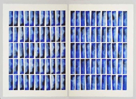 Gazetta Série KEL Gravure dyptique réalisée à l'aide de 5 plaques de 55 impressions