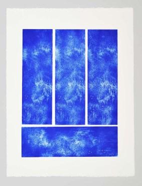 Azul 3+1 Serie Aithêr Gravure réalisée à partir d'une plaque de 12 x 38 cm - 4 impressions