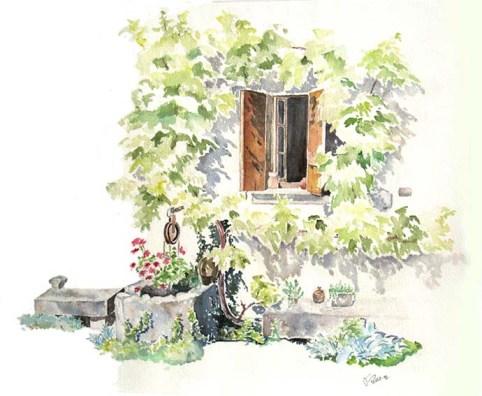 La fenêtre de Gallice Aquarelle